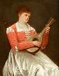 Camille DELARUEL (1840-?). Joueuse de mandoline. Huile sur panneau, signé en haut à droite . 41 x 32 cm