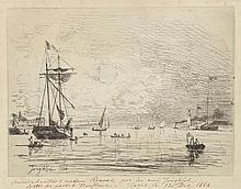 Johan-Barthold JONGKIND (1819-1891) .   Sortie du port de Honfleur.   Gravure à la pointe sèche .   Souvenir d'amitiés à Mme Renaud par ton ami Jongkind- Sorti du port de Honfleur- Paris le 12 décembre 1864' .   23,5 x 32,5 cm (coup de planche).