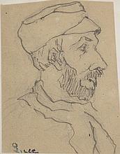 Maximilien LUCE (1858-1941) .   Portrait d'homme à la barbe.   Encre et crayon sur papier, signé du cachet en bas à gauche.   11 x 8,5 cm .