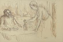 Maximilien LUCE (1858-1941) .   A table.   Encre brune et crayon .   Signé du cachet en bas à droite .   18 x 27 cm .