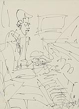 GEN PAUL (1895-1975) .   Le pianiste.   Feutre .   Signé en bas à droite .   39,5 x 29 cm vue .   .