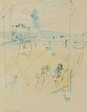 Yves COMMERE (1920-1986) .   A la plage, 1957.   Aquarelle et encre .   Signé et daté en bas à gauche .   52 x 41 cm à vue .