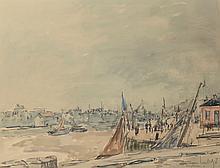 Fernand HERBO (1905-1995).   Honfleur.   Aquarelle sur traits de crayon.   Signé en bas à droite.   47,5 x 61 cm à vue.