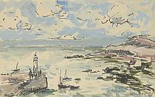 Fernand HERBO (1905-1995) .   Entrée du port.   Aquarelle et feutre .   Signé en bas à droite .   12 x 19 cm à vue .   .