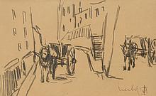 Fernand HERBO (1905-1995) .   Carriole à Montmartre.   Etude au crayon .   Signée en bas à droite .   10 x 16,5 cm à vue .