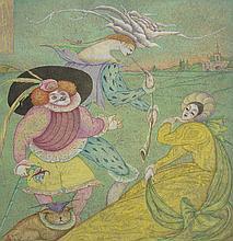 Rebecca CHEMIAKINE (née en 1934).   Personnages fantastiques.   Technique mixte sur papier, signée en bas à gauche.   29,5 x 27,5 cm.