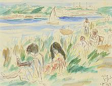 Nino GIUFFRIDA (né en 1924) .   Au bord de la mer, 1968.   Feutre et aquarelle .   Signé et daté en bas droite .   22,5 x 29,5 cm .