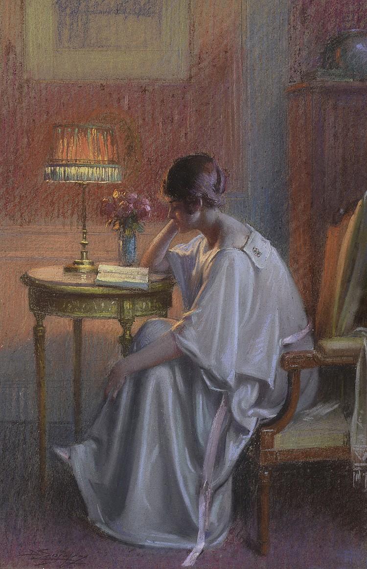 Delphin ENJOLRAS (1857-1945) . La lecture, le soir. Pastel . Signé en bas à gauche . 53 x 36 cm à vue .