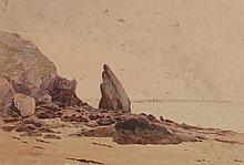 de LA FOIRIERE (Actif vers 1900) .   Côte bretonne.   Aquarelle .   Signée en bas à gauche .   37 x 56 cm à vue .   Piqûres, accidents .