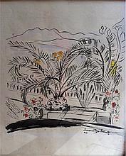 Suzanne DUCHAMP (1889-1963) .   Paysage du midi, 1949.   Encre et aquarelle .   Signée et datée en bas à droite .   39,5 x 30 cm à vue .   Insolé .