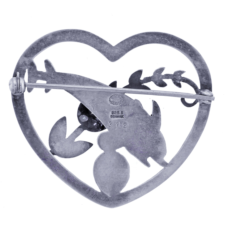 c2a8d0829727 Georg Jensen Sterling Open Heart Brooch Pin with 2 Dolphin Clam Shell and  Leaf Motif