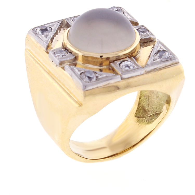Cats eye moonstone and diamond ring set in 14kt yellow gold for Cat s eye moonstone jewelry
