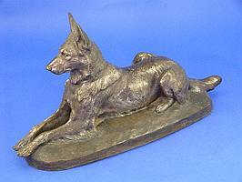 A bronze figure of a German Shepherd Dog, by Jules