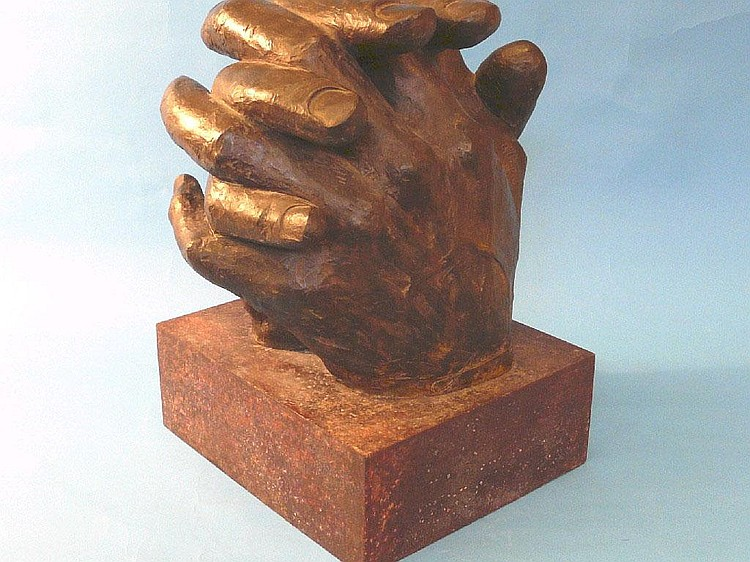 Lorenzo Quinn; Clasped Hands, bronze sculpture, on