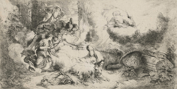 Giovanni Benedetto Castiglione, The Nativity with God the Father and Angels, c.1647