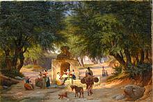 Peter Raadsig, Italian Peasants Around an Ancient Well, 1846
