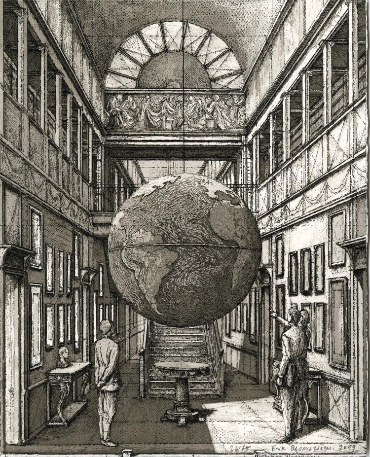 Erik Desmazières, Entrance Hall with a Globe, 2009