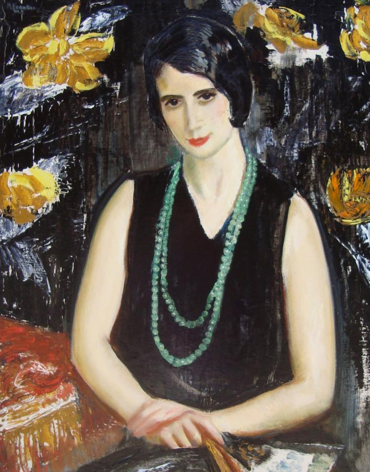 Maurice Fromkes, Spanish Woman with a Green Bead Necklace, Madrid, circa 1930