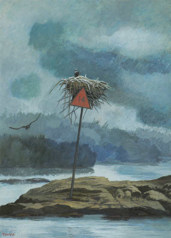 Anne Lyman Powers, The Osprey Nest on Daybeacon 14, c.1992