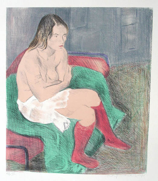 Raphael Soyer, Woman in Red Stockings