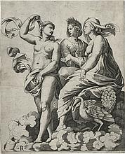 Marco Dente da Ravenna, Juno, Ceres, and Psyche [after Raphael Sanzio, Italian (1483-1520)], early 16th century
