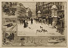 Felix Buhot, L'Hiver a Paris, or La Neige a Paris, 1879