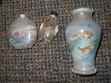 3 PEKING GLASS SNUFF BOTTLE WITH INNER PAINTING