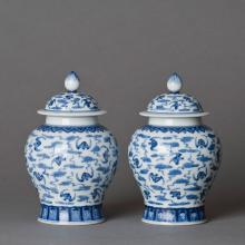 A PAIR OF BLUE AND WHITE PORCELAIN JARS