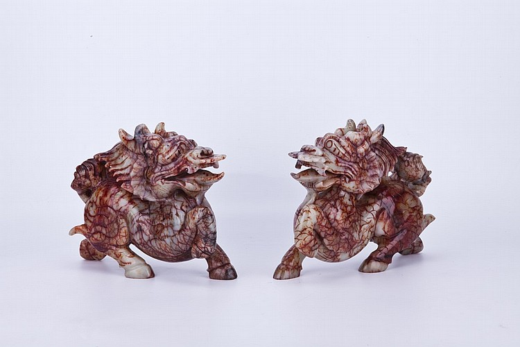 A Pair of Chinese Carved Jade Piyao Sculpture
