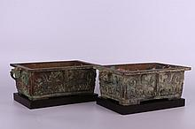 Pair of Chinese metalwork archaistic vessel