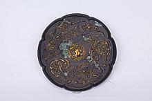 Chinese Gilt Gold Bronze Mirror