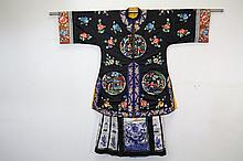 Chinese Silk Embroidered Robe with Skirt