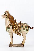 Tang Sancai Tri-Color Glazed Porcelain Horse Statue