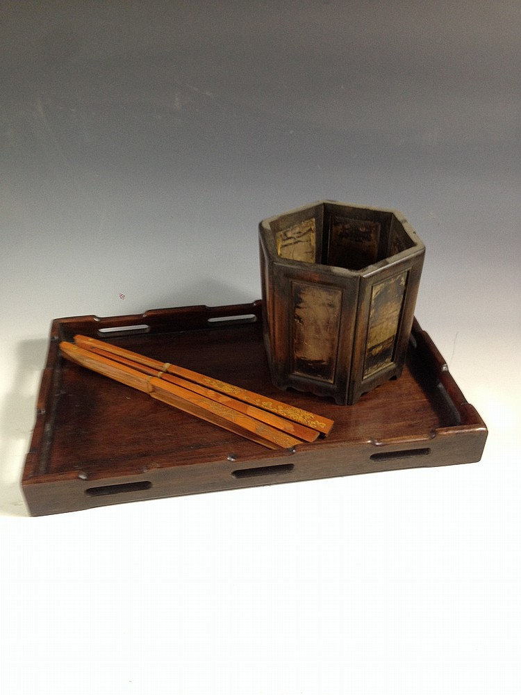 A set of bamboo spined fan brush pot and huanghuali tray for Chinese art furniture