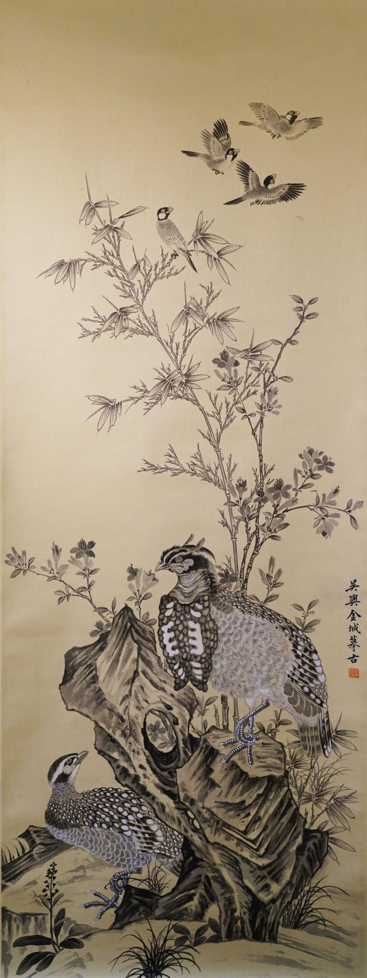 A CHINESE SCROLL PAINTING OF BIRDS