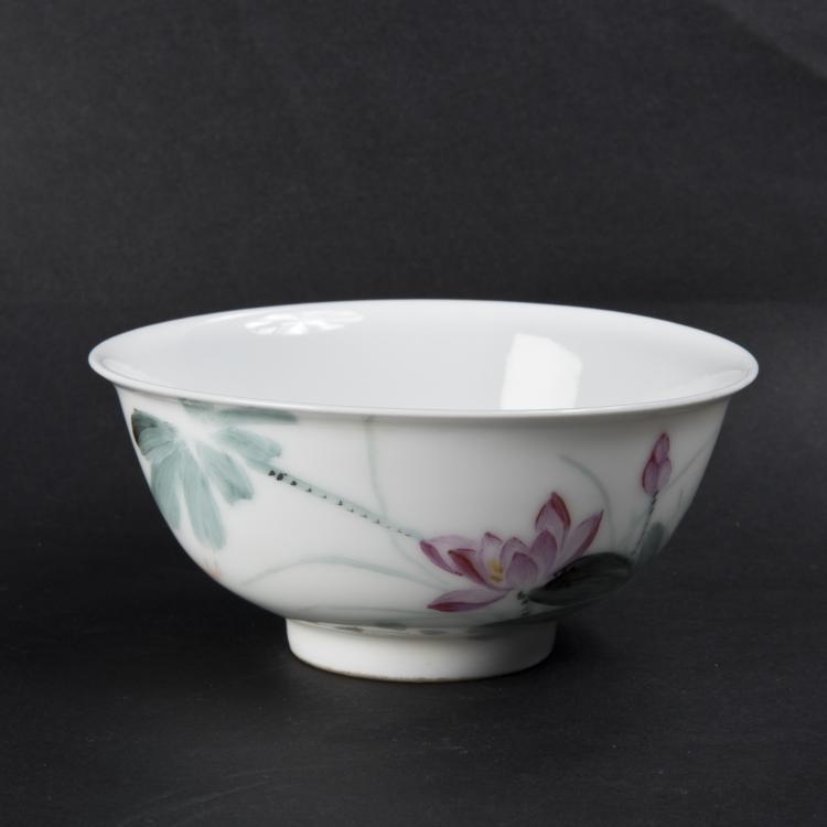 Koi with lotus porcelain bowl for Koi viewing bowl