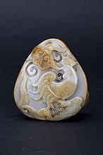 Carved jade stone of a rooster