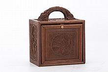 Well carved Chinese hardwood mahjong box with mahjong tiles contained