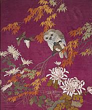 Framed embroidered panel with owl
