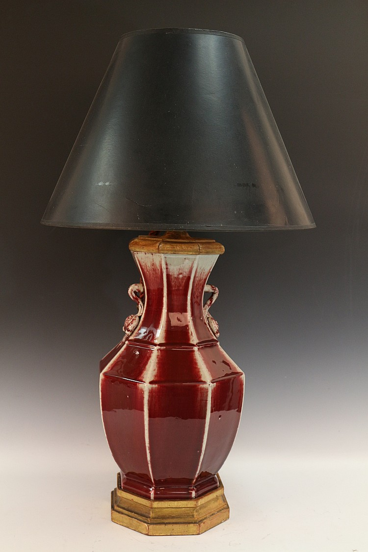 Chinese Red Glazed Porcelain Table Lamp
