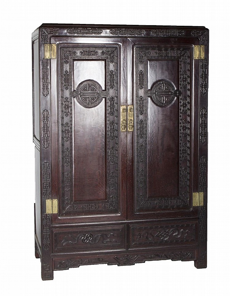 Sold Price: Chinese Black Rosewood Cabinets - July 6, 0115 ...