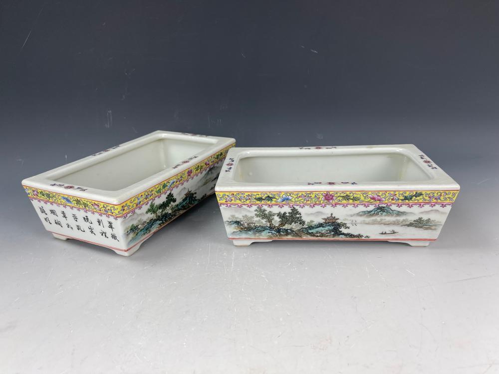 A Pair of Famille Rose Porcelain Flower Pot