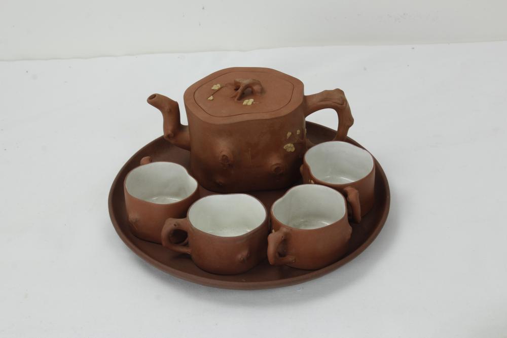 A Set of Zisha Tea Pot Four cups One Plate Chen Yuqin Mark