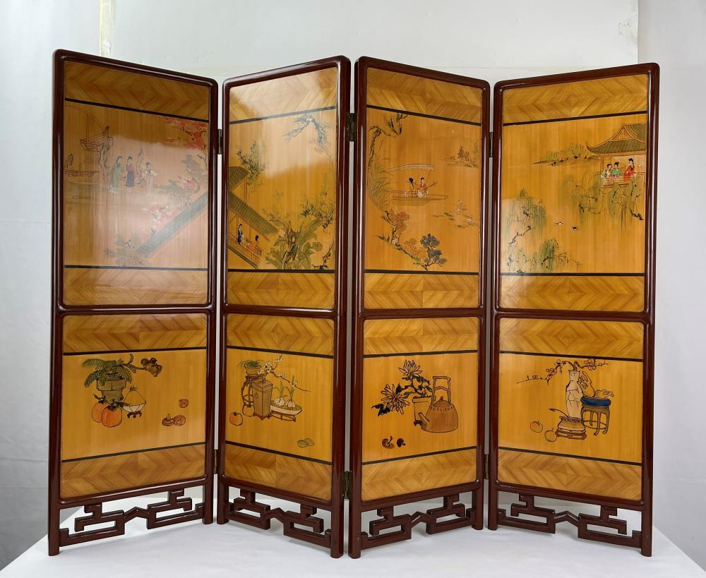 Four panel Chinese Traditional Bamboo Screen