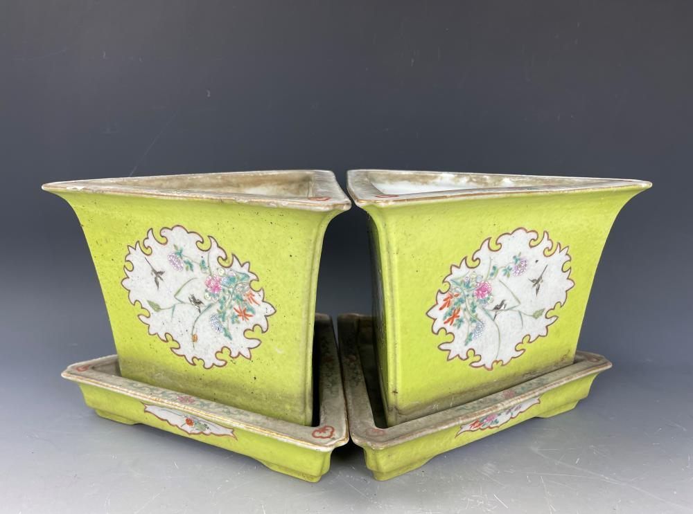 A Pair of Triangular Green and Famille Rose Porcelain Pot