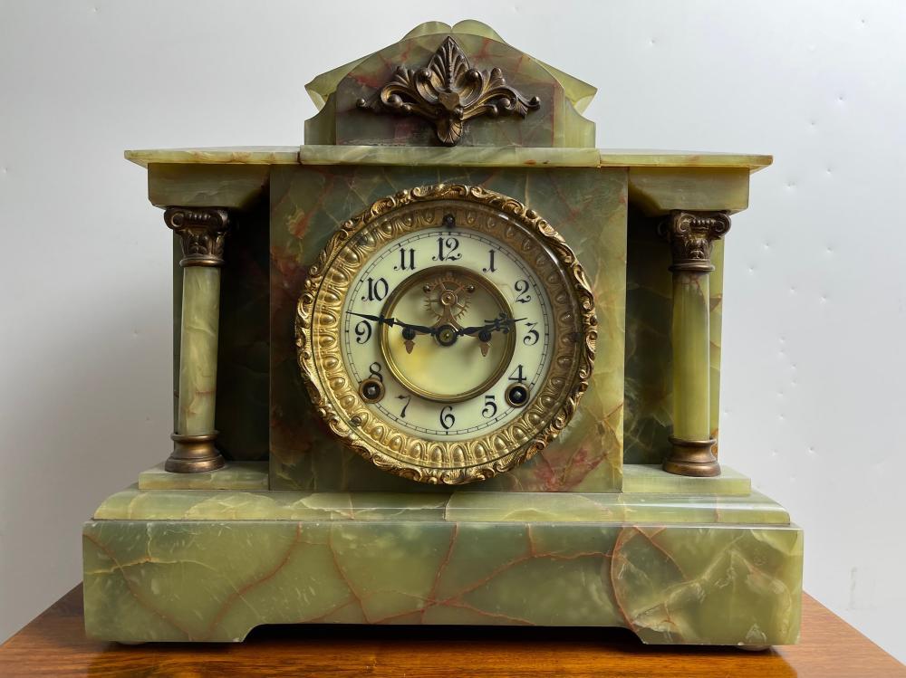 Ansonia Green Marble Mantel Clock 1882