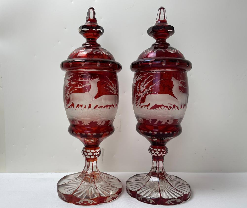 A Pair of 19th C ENGRAVED BOHEMIAN RUBY GLASS GOBLET