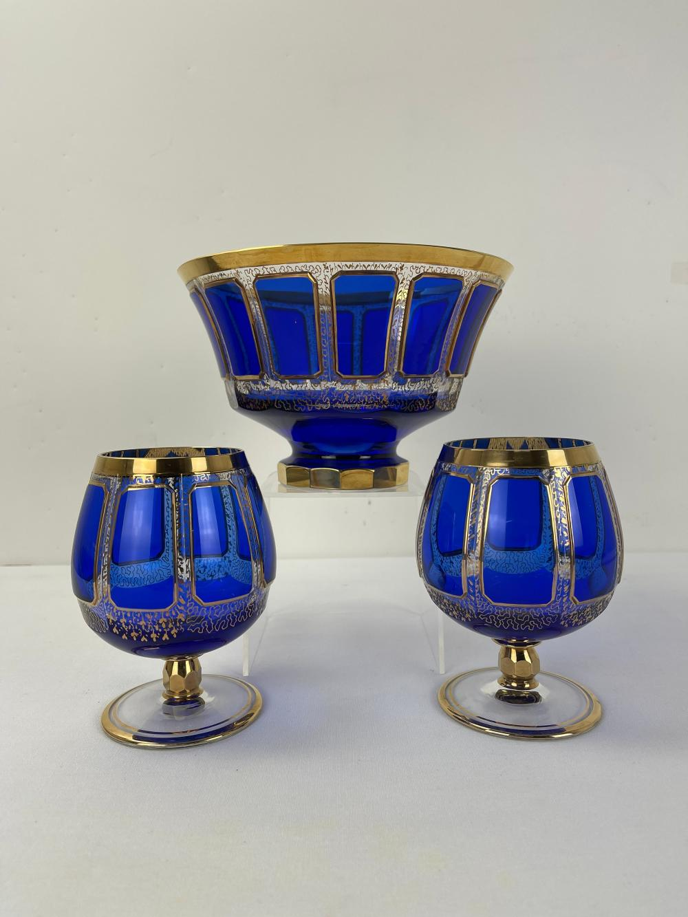 Masterpieces of Bohemian Glass Goblets and Bowl