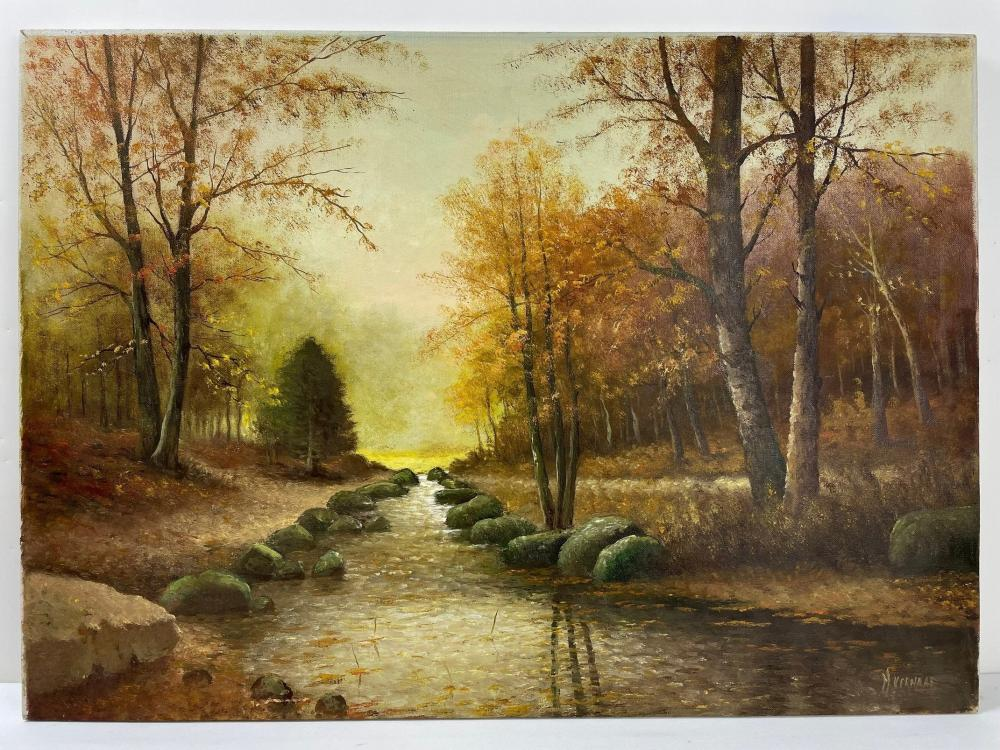An Autumn River Banks on Canvas by H. Verhaaf (1890 - 1970)