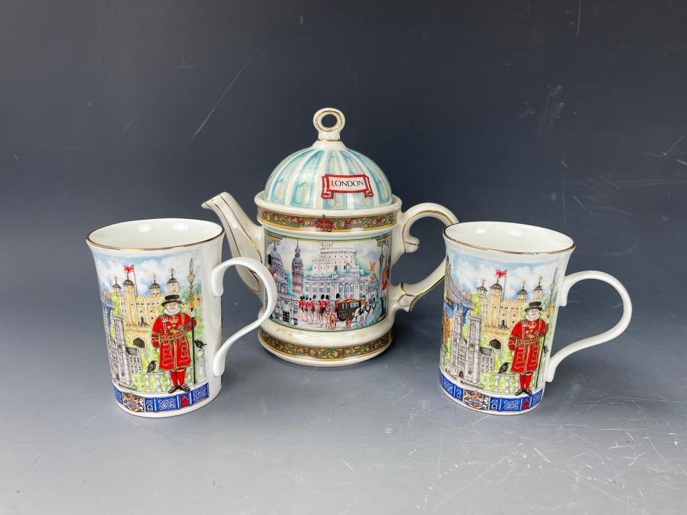 A England Porcelain Teapot and Two Cups
